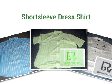 Mens Shortsleeve Dress Shirts - Available in lime and white, blue and white and khaki